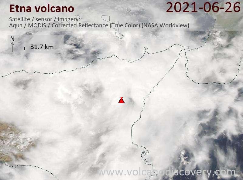 Satellite image of Etna volcano on 27 Jun 2021