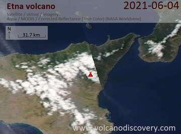 Satellite image of Etna volcano on  4 Jun 2021