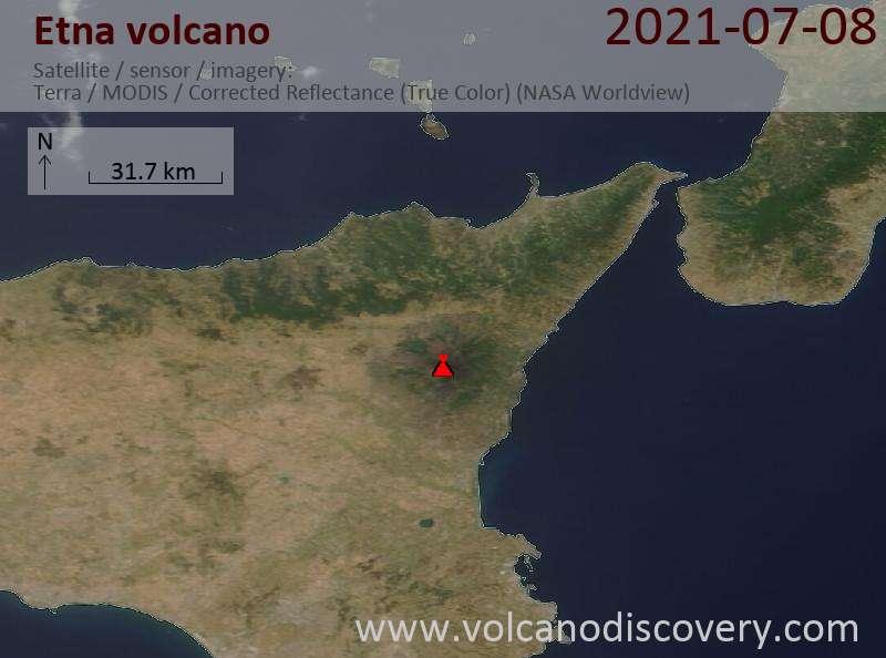 Satellitenbild des Etna Vulkans am  9 Jul 2021