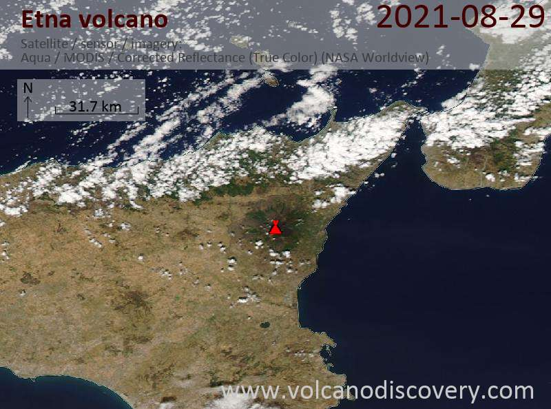 Satellitenbild des Etna Vulkans am 29 Aug 2021
