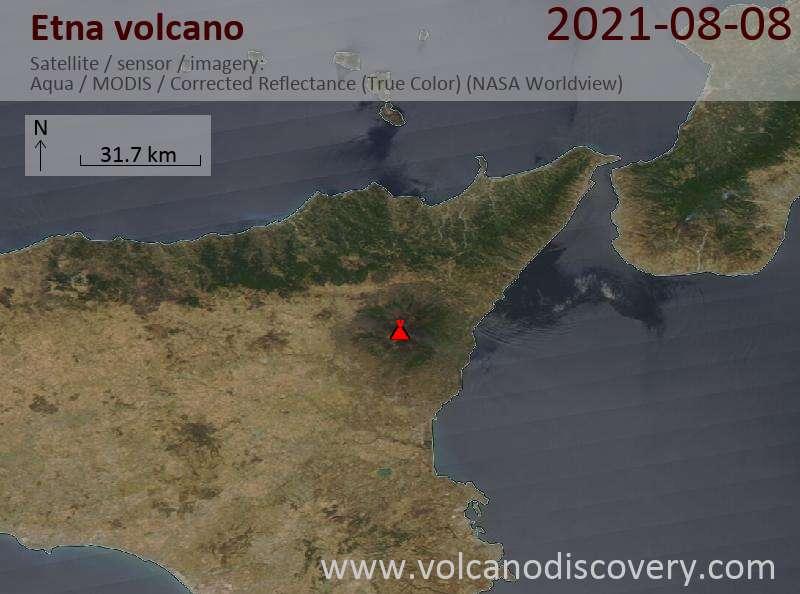 Satellite image of Etna volcano on  8 Aug 2021