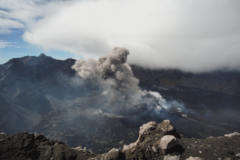 Explosion generated an eruption column from Raung volcano summit crater on 2 March (image: @aris_volcano/twitter)
