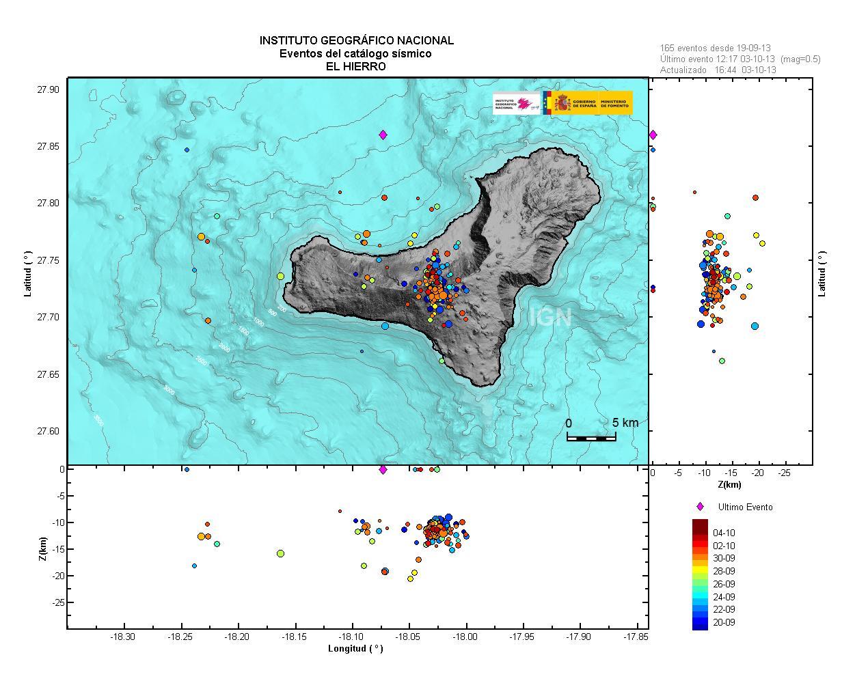 Map of recent quakes at El Hierro