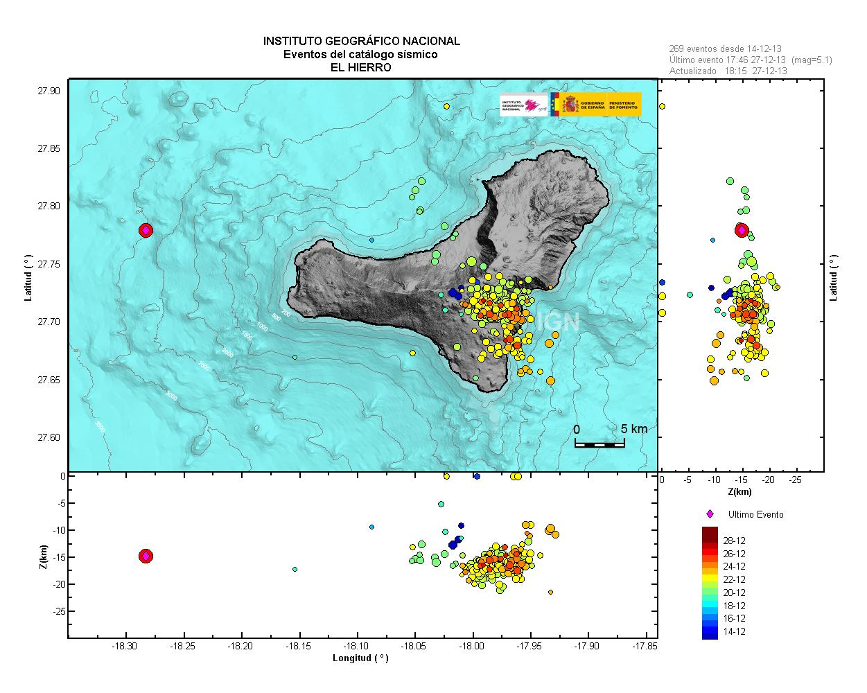 Map of recent earthquakes; the magnitude 5.1 event this afternoon is the red dot west off the island.