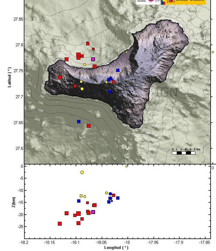 Location of today's quakes at EL Hierro (IGN)