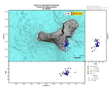 Map of recent earthquakes under El Hierro (IGN)