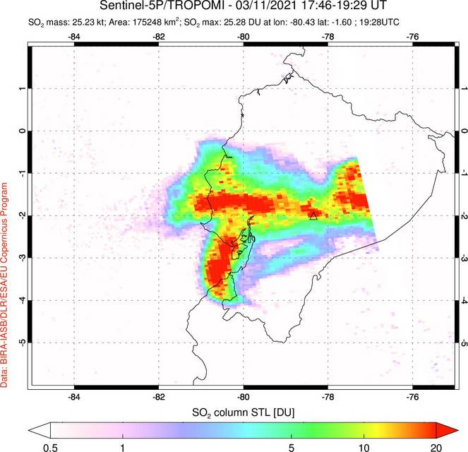 SO2 concentrations from Sangay eruption detected by Sentinel 5P (image: @simoncarn/twitter)