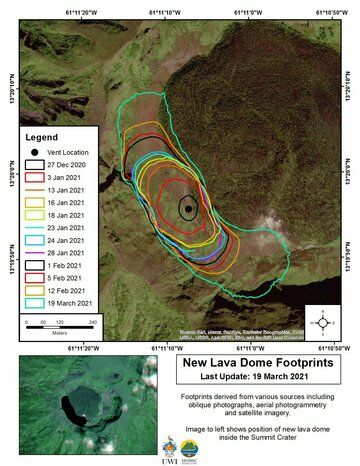 Footprint of the new lava dome showing the growing area since 27 Dec 2020 (image: @uwiseismic/twitter)