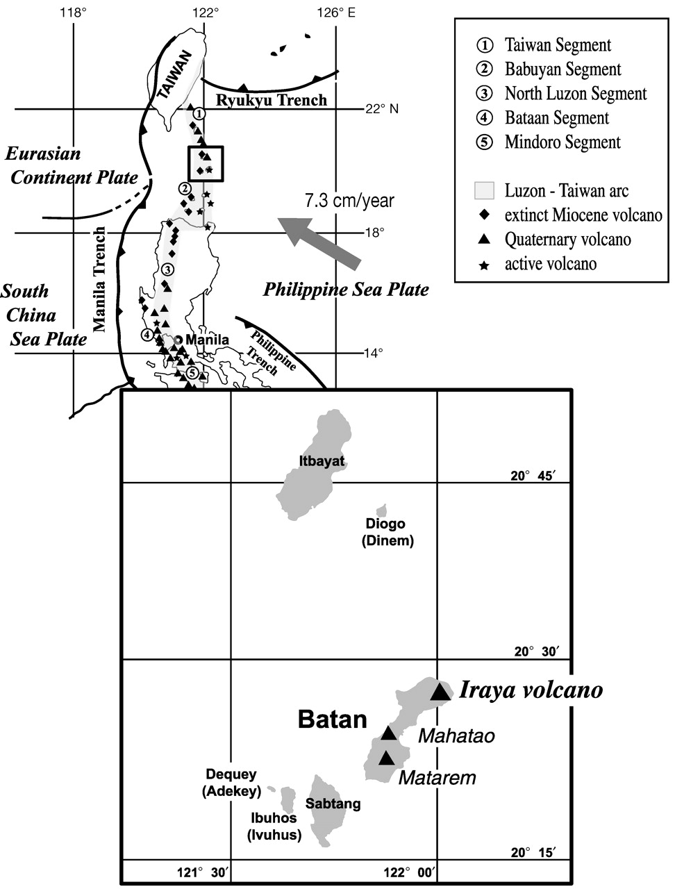 Tectonic setting of Iraya volcano and the segments of the Luzon volcanic arc (Philippines). From: Arai et al (2004)