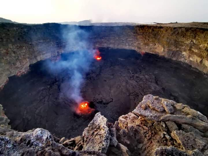 Erta Ale's active southern pit crater where the lava lake is reforming.