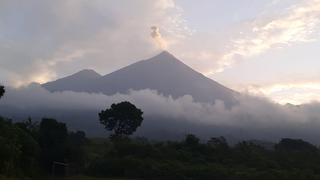 Ash plume from Fuego volcano (image: INSIVUMEH)