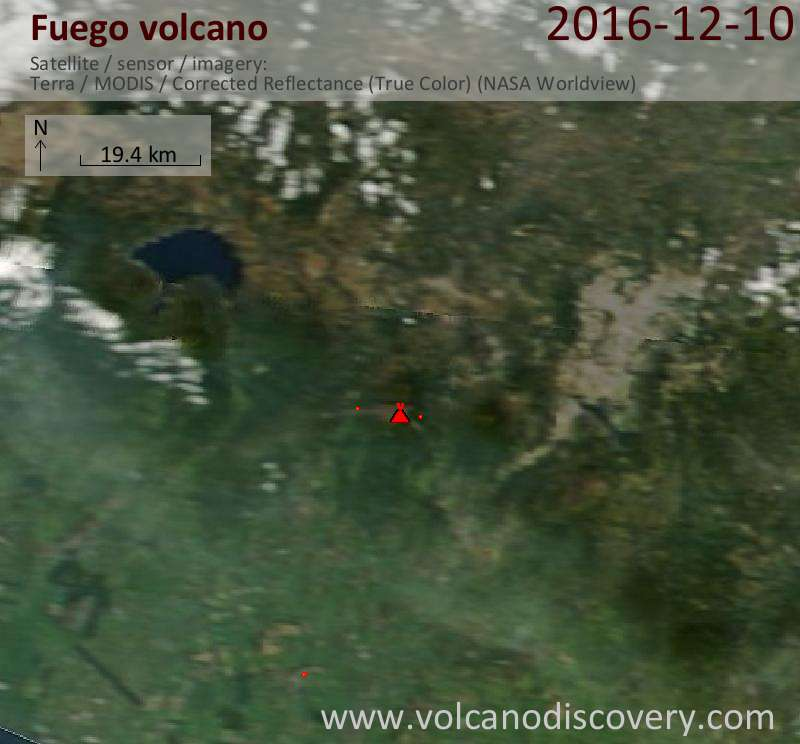 Satellite image of Fuego volcano on 10 Dec 2016