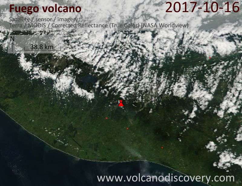 Satellite image of Fuego volcano on 16 Oct 2017