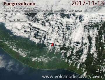 Satellite image of Fuego volcano on 14 Nov 2017