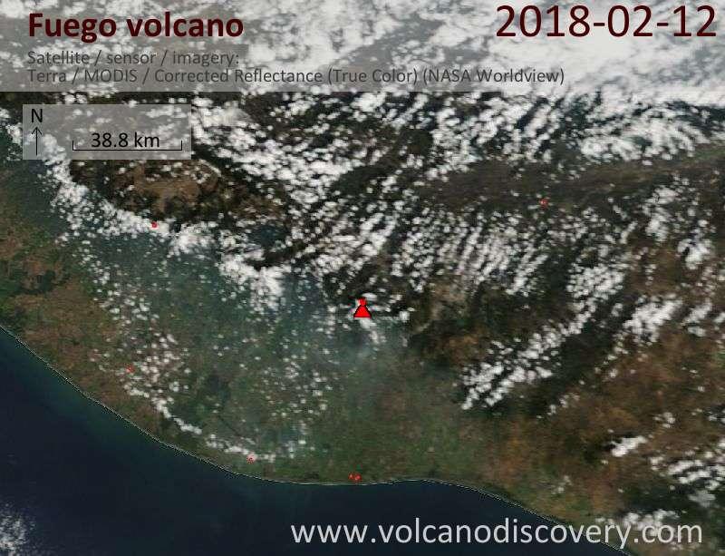 Satellite image of Fuego volcano on 12 Feb 2018