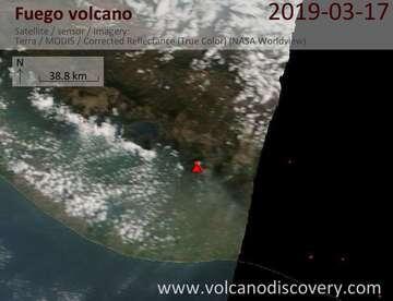 Satellite image of Fuego volcano on 17 Mar 2019