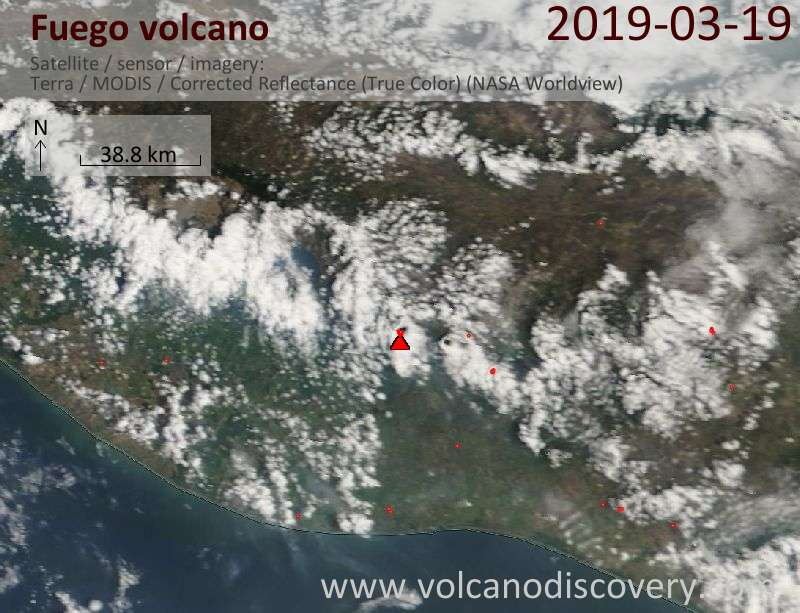 Satellite image of Fuego volcano on 19 Mar 2019