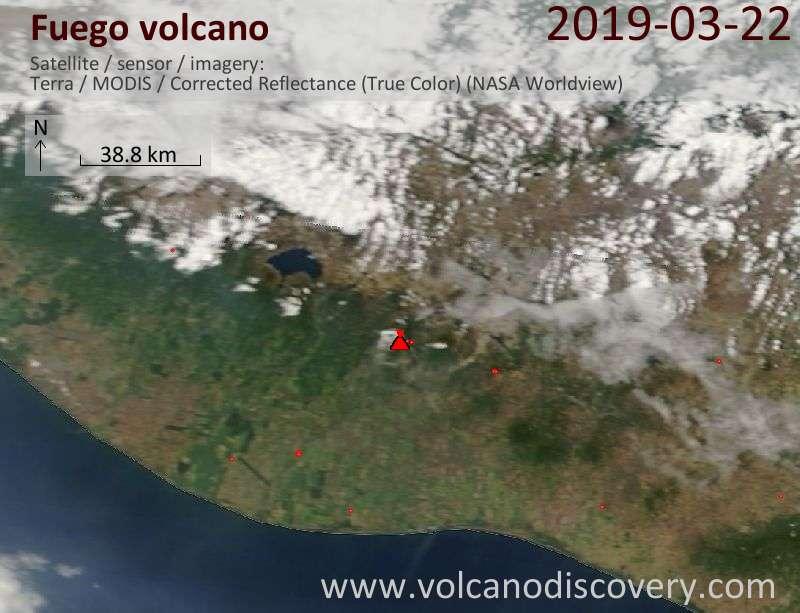 Спутниковое изображение вулкана Fuego 22 Mar 2019