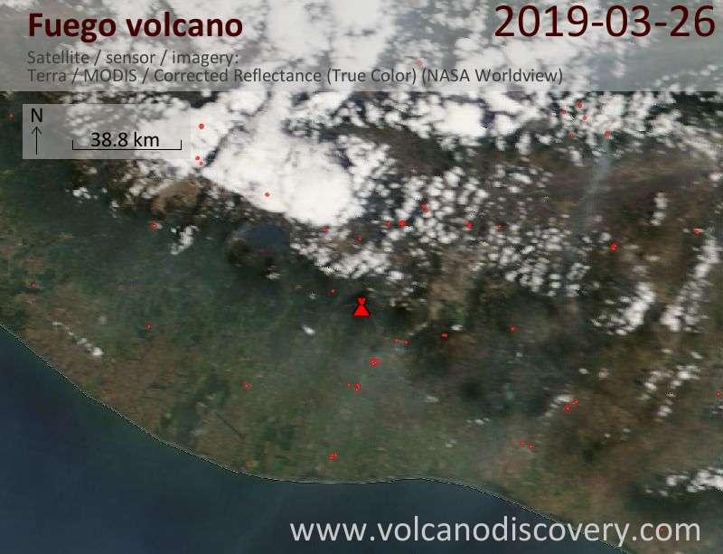 Спутниковое изображение вулкана Fuego 26 Mar 2019