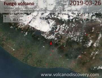 Satellite image of Fuego volcano on 26 Mar 2019