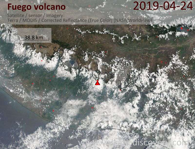 Satellite image of Fuego volcano on 24 Apr 2019