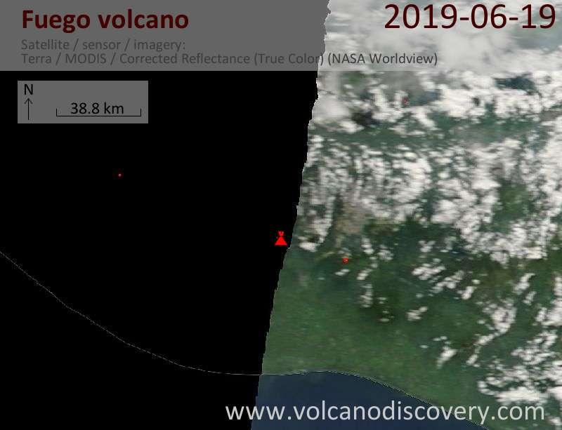 Satellitenbild des Fuego Vulkans am 19 Jun 2019