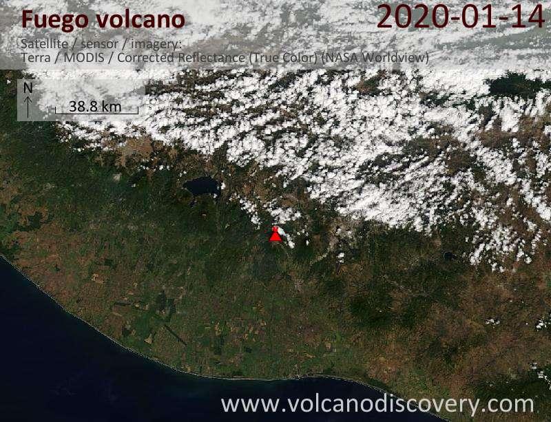 Спутниковое изображение вулкана Fuego 14 Jan 2020