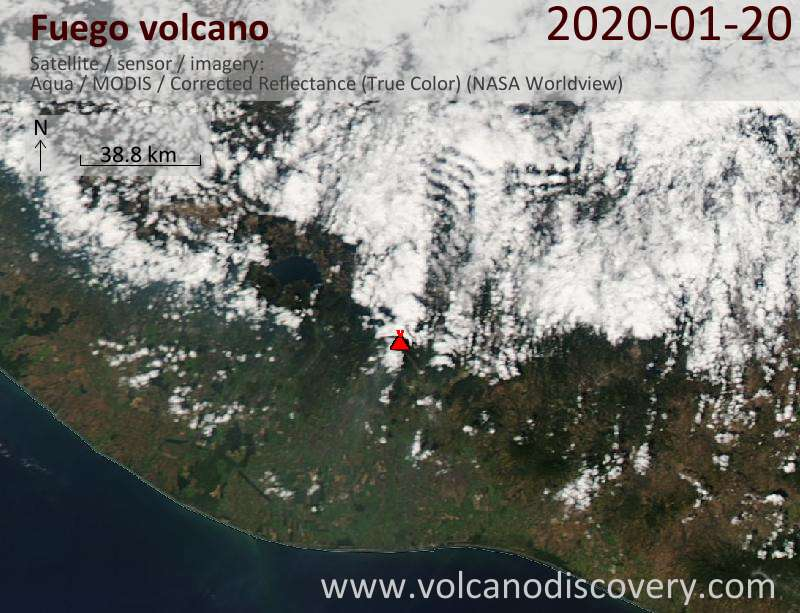 Satellite image of Fuego volcano on 21 Jan 2020
