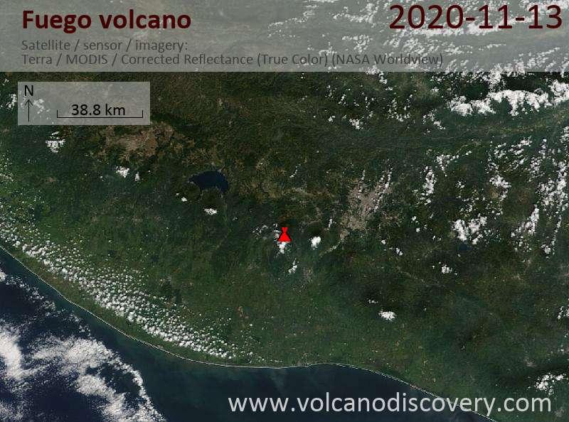 Satellite image of Fuego volcano on 13 Nov 2020