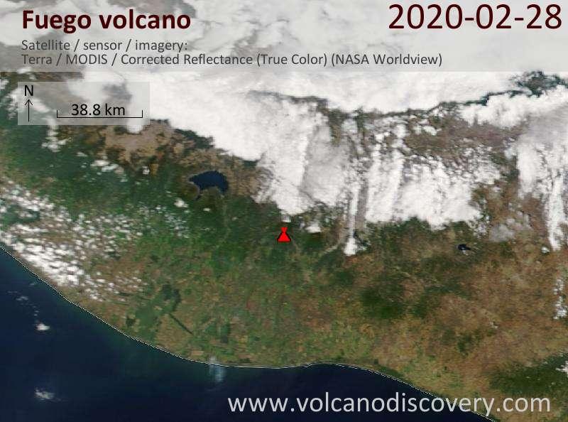 Satellite image of Fuego volcano on 28 Feb 2020