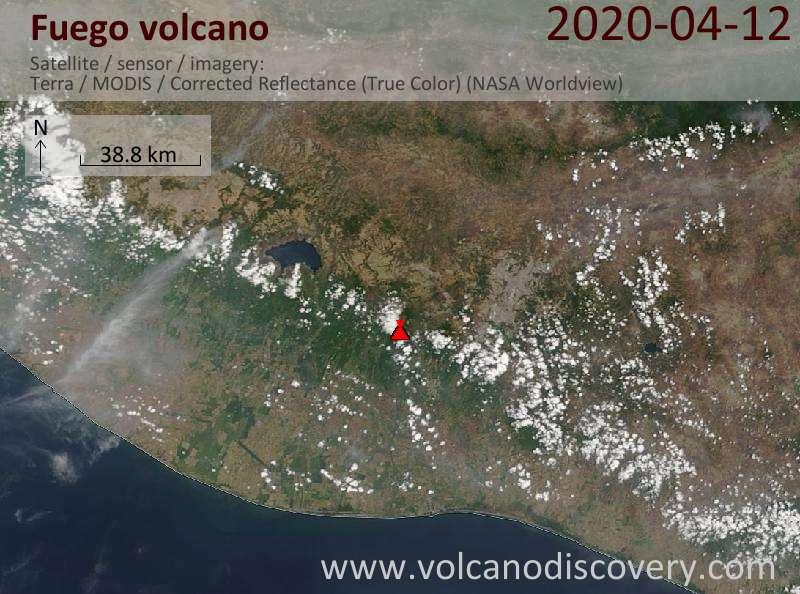Satellite image of Fuego volcano on 12 Apr 2020