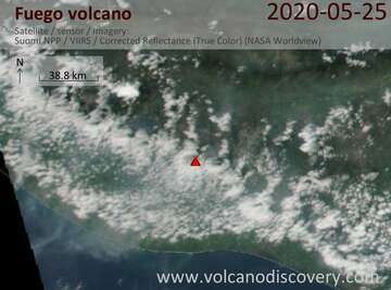 Satellite image of Fuego volcano on 25 May 2020
