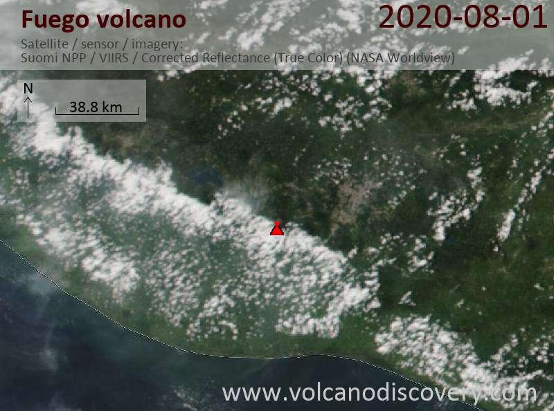 Спутниковое изображение вулкана Fuego  2 Aug 2020
