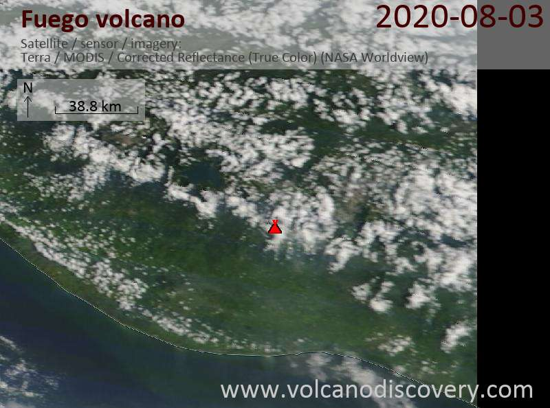 Satellite image of Fuego volcano on  3 Aug 2020