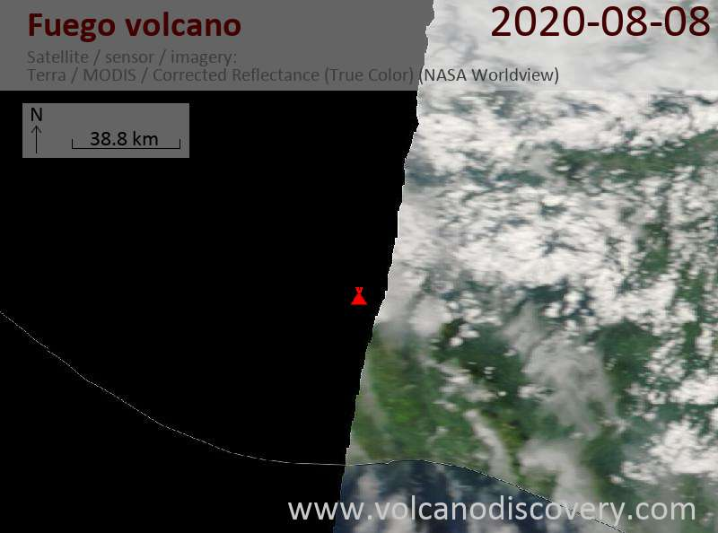 Satellite image of Fuego volcano on  8 Aug 2020