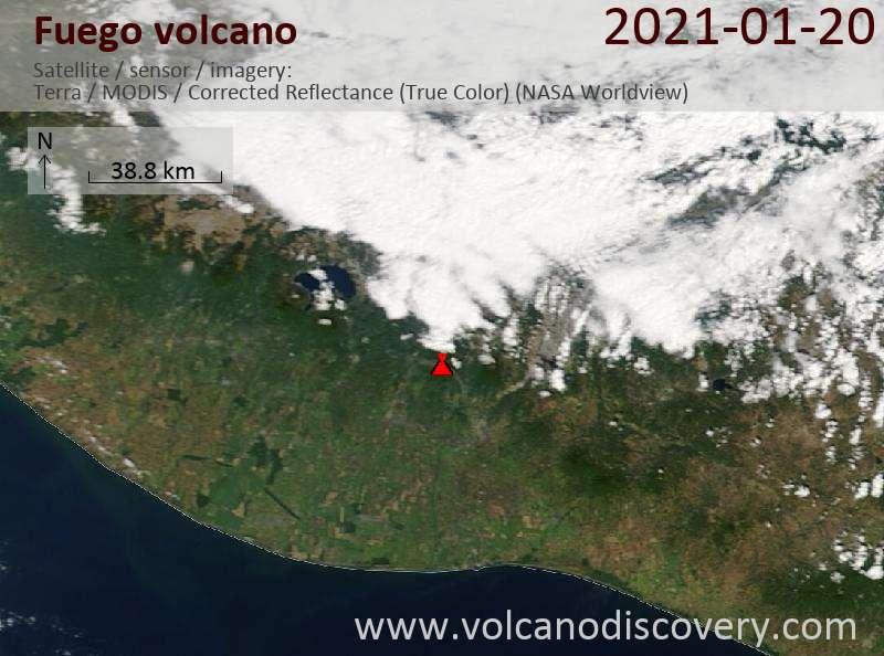 Satellite image of Fuego volcano on 21 Jan 2021
