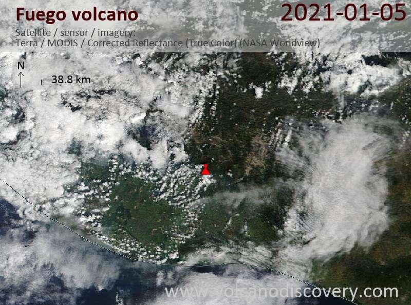Satellite image of Fuego volcano on  5 Jan 2021