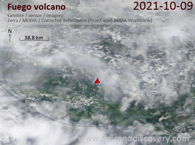 Satellite image of Fuego volcano on 10 Oct 2021