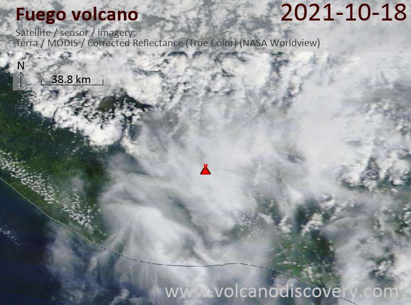 Satellite image of Fuego volcano on 19 Oct 2021