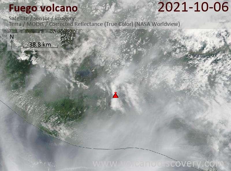 Satellite image of Fuego volcano on  7 Oct 2021