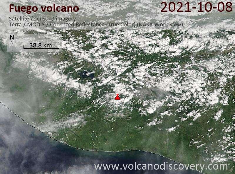 Satellite image of Fuego volcano on  9 Oct 2021