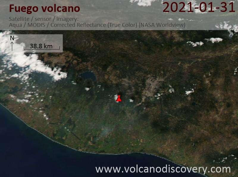 Satellite image of Fuego volcano on  1 Feb 2021