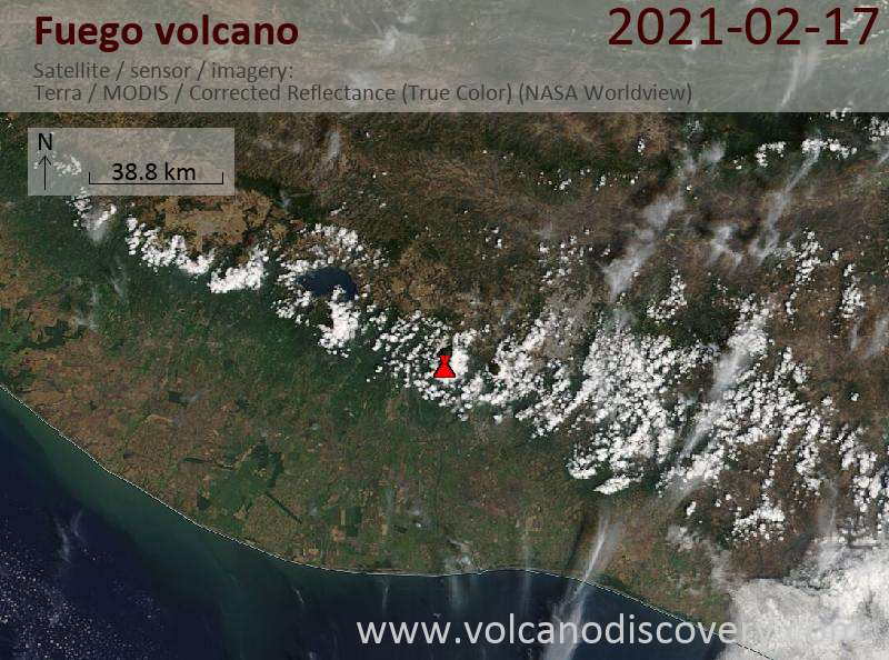 Satellitenbild des Fuego Vulkans am 17 Feb 2021