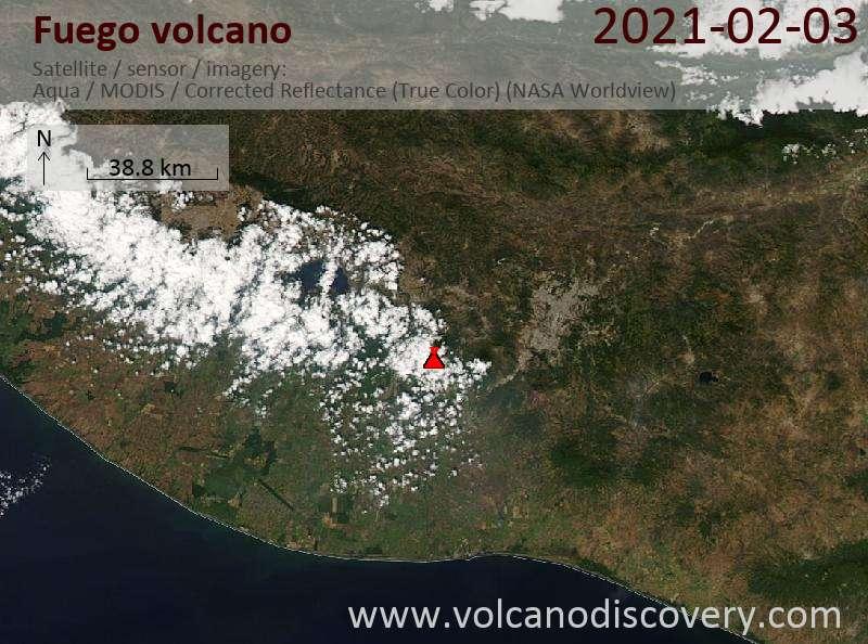 Satellite image of Fuego volcano on  3 Feb 2021