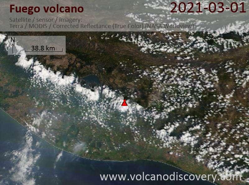 Satellitenbild des Fuego Vulkans am  2 Mar 2021