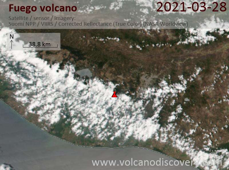 Satellite image of Fuego volcano on 29 Mar 2021