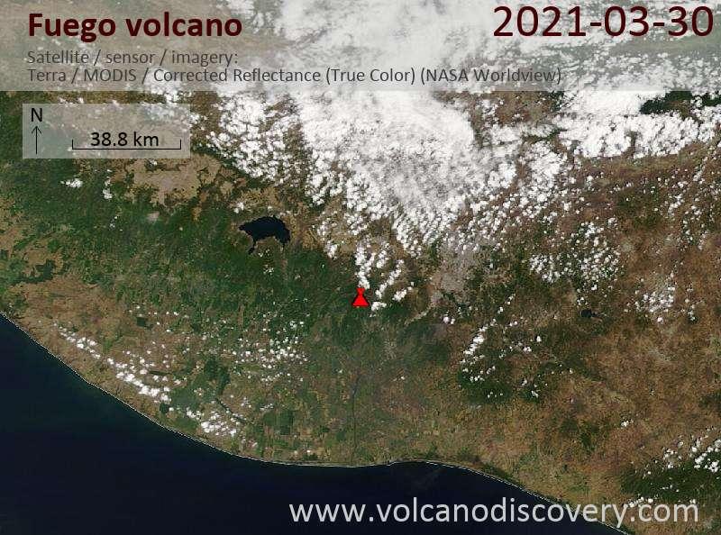 Satellite image of Fuego volcano on 31 Mar 2021