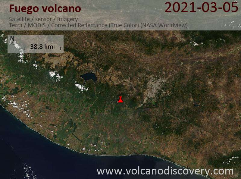 Satellite image of Fuego volcano on  6 Mar 2021