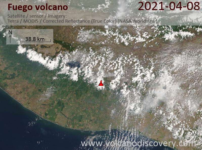 Satellite image of Fuego volcano on  9 Apr 2021