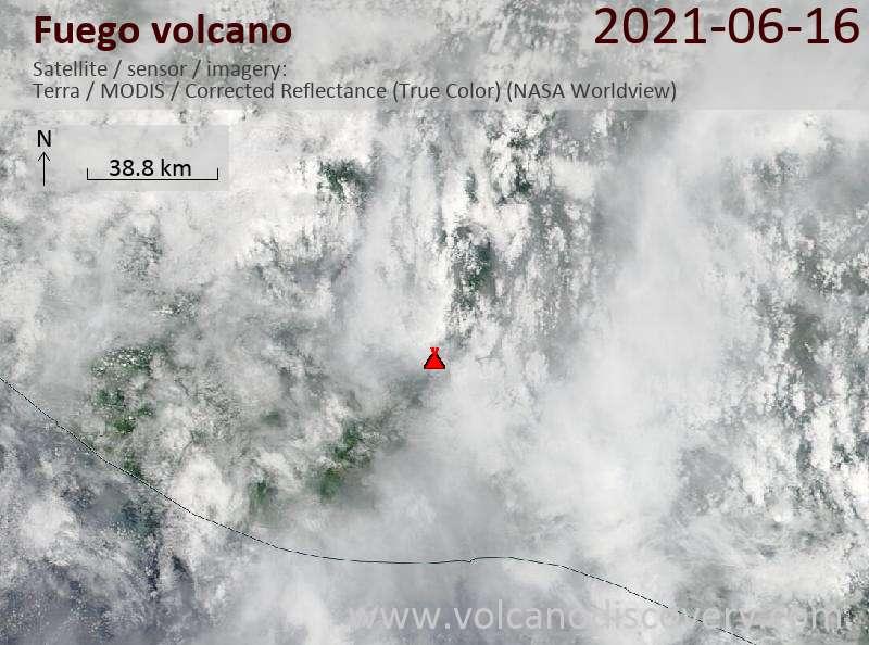 Satellite image of Fuego volcano on 17 Jun 2021